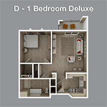One Bedroom Deluxe Apartment in Assisted Living