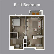 One Bedroom Apartment in Assisted Living