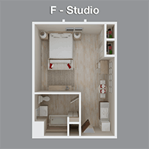 Studio Apartment in Assisted Living